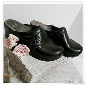 Dansko Black Open Back Clogs